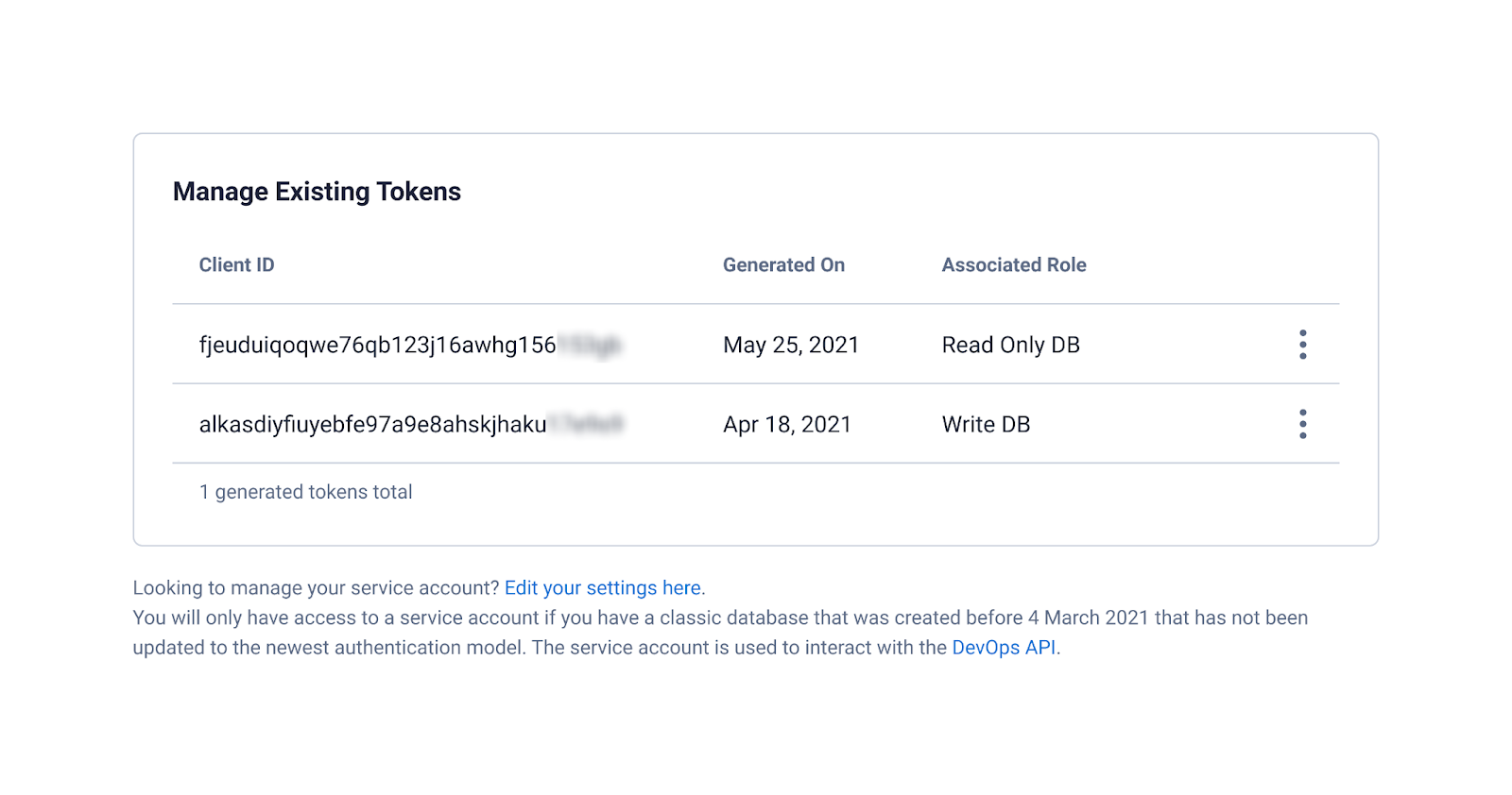 Manage existing tokens